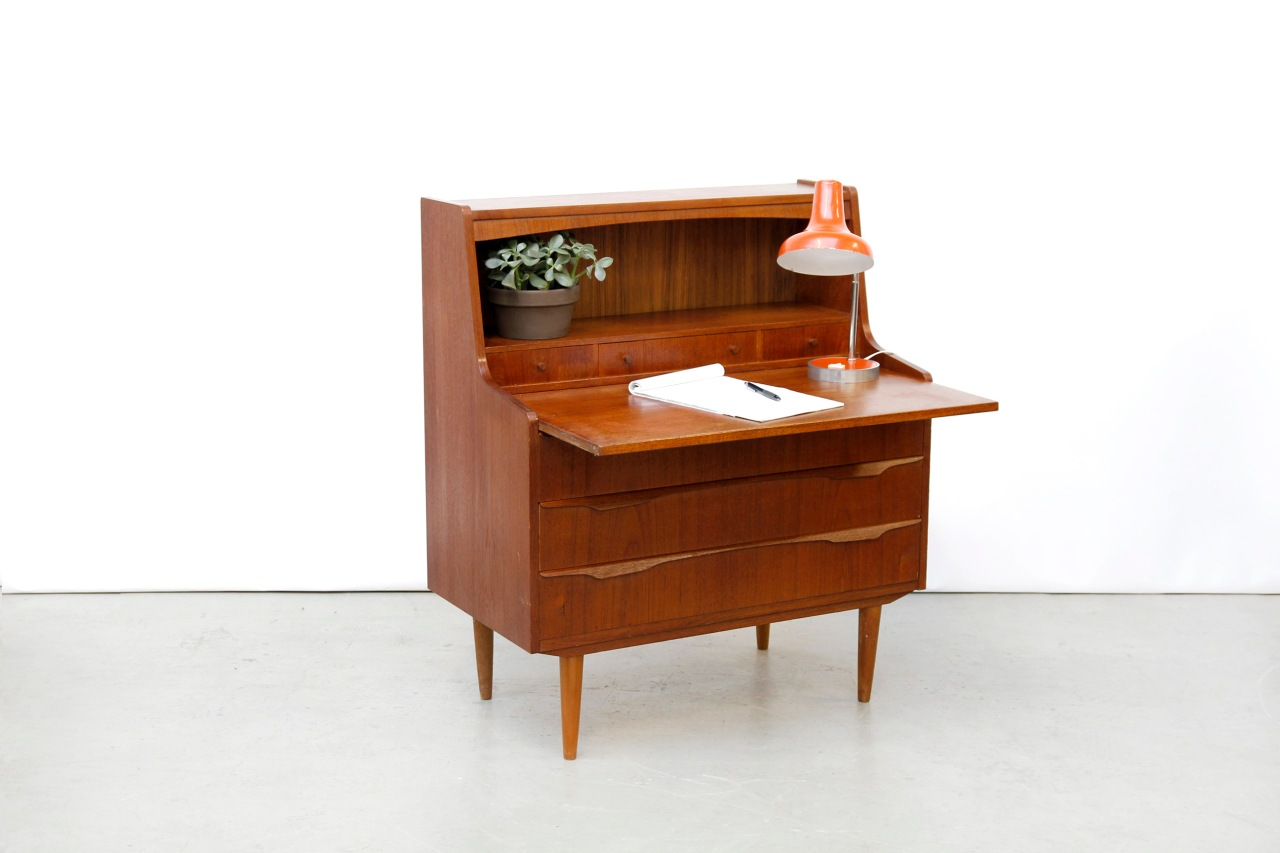 vintage teakhouten deens design secretaire van ons. Black Bedroom Furniture Sets. Home Design Ideas