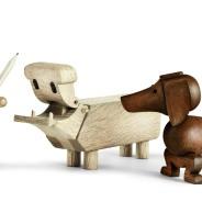 Kay Bojesen family wooden rabbit, hippo, dog