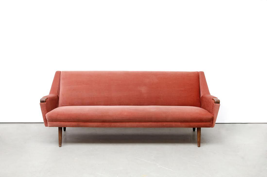 vintage oud roze deens design bank van ons