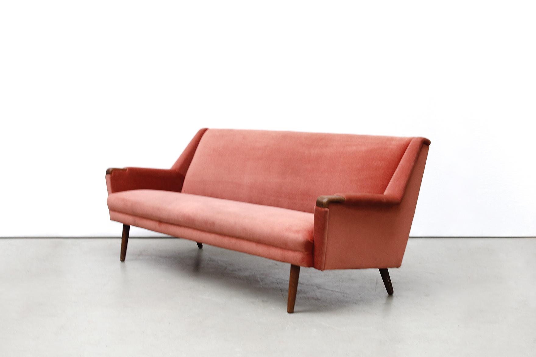 Vintage oud roze deens design bank sofa van ons