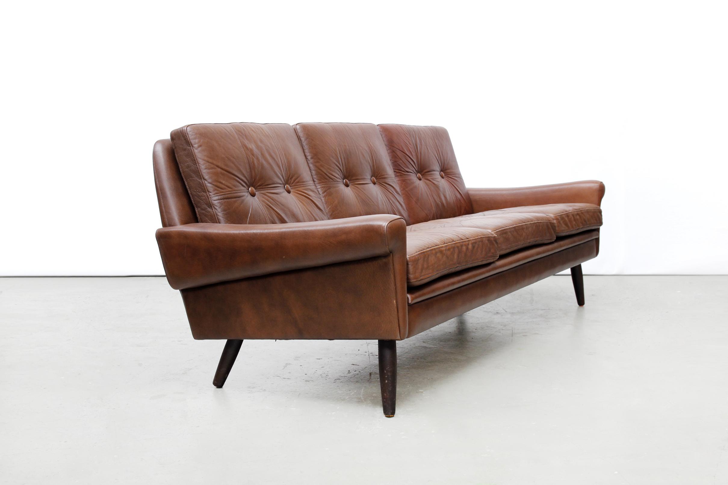 Vintage skippers møbler deens design leren bank van ons