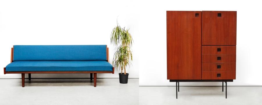 Hans Wegner bank en Pastoe Japanse serie Cabinet van OnS vintage design Amsterdam