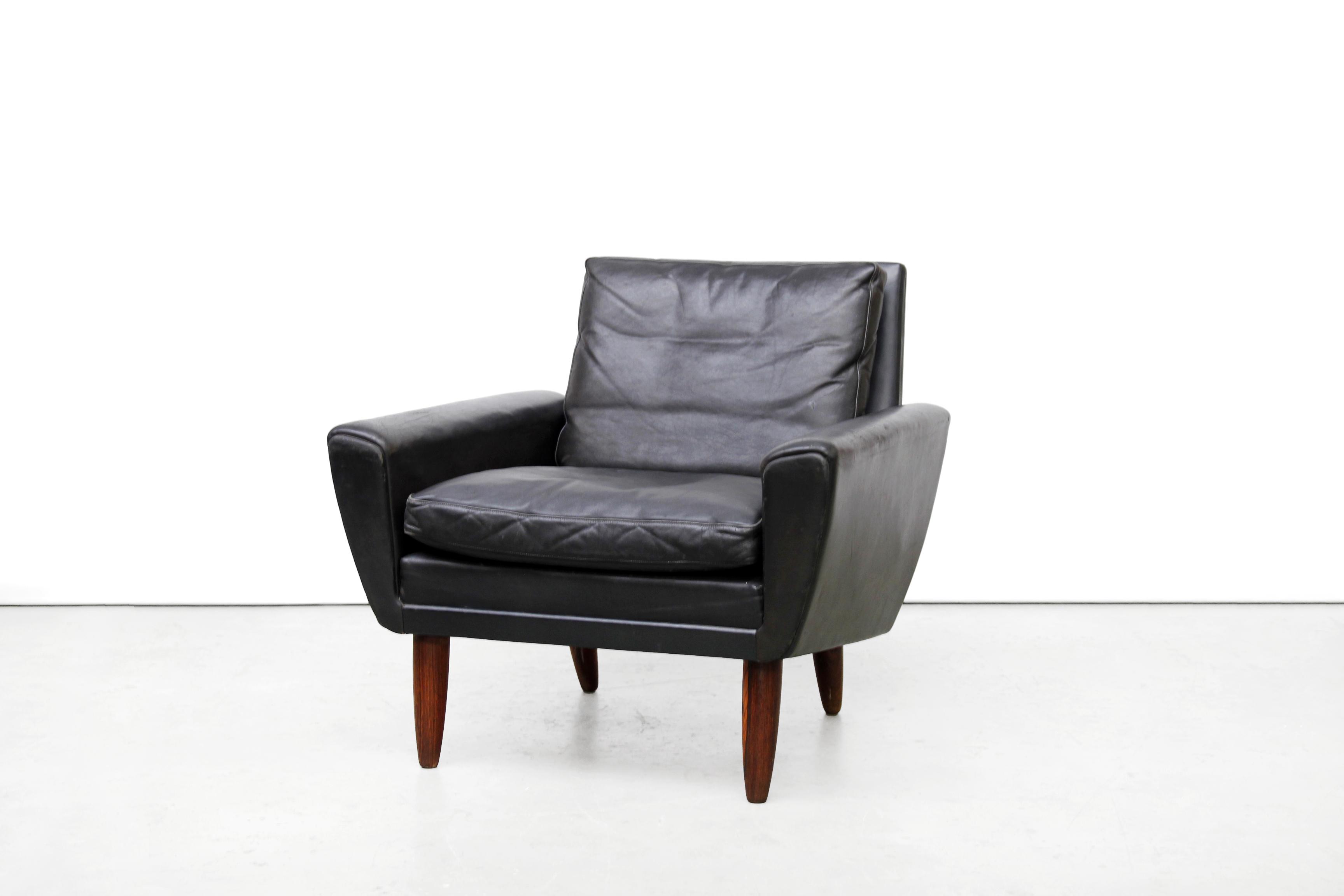 Zwart leren georg thams design fauteuil van ons