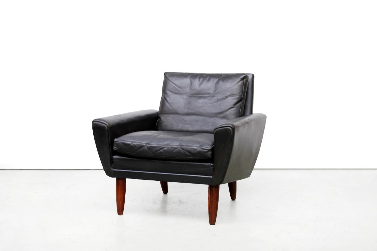 Design Leren Draaifauteuil.Vintage Zwart Leren Georg Thams Design Fauteuil Van Ons Design