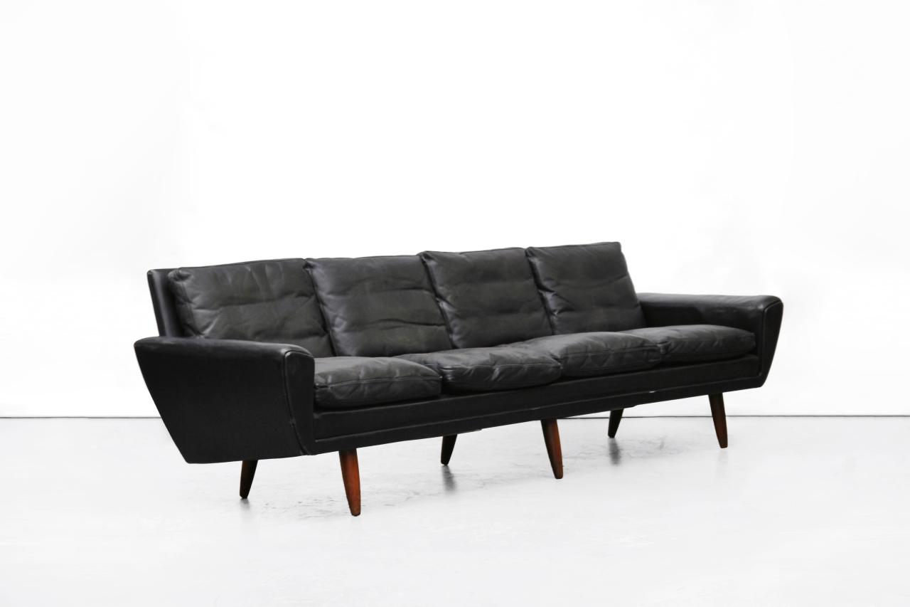 Vintage zwart leren georg thams vierzits design bank van ons