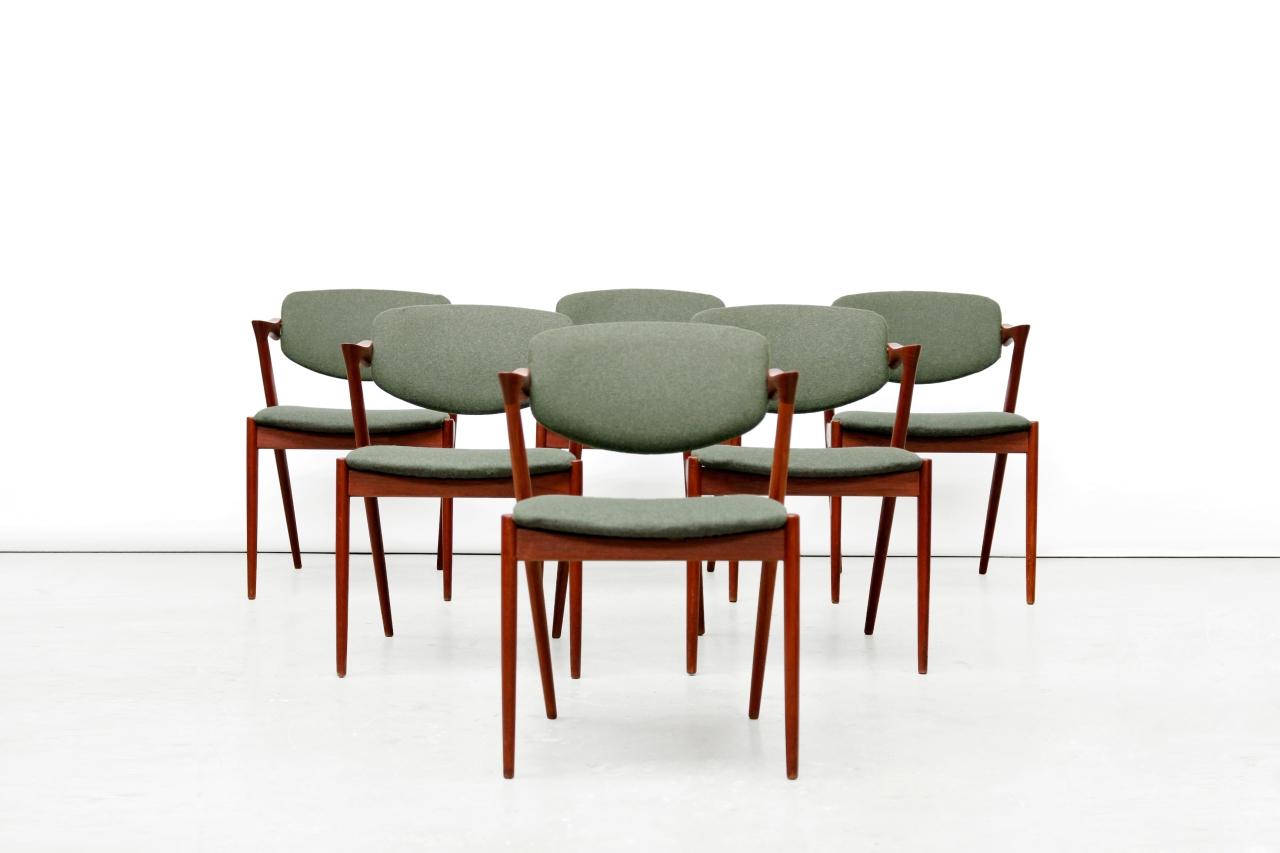 Scandinavian Chair Zes Vintage Kai Kristiansen Model No 42 Eetkamerstoelen