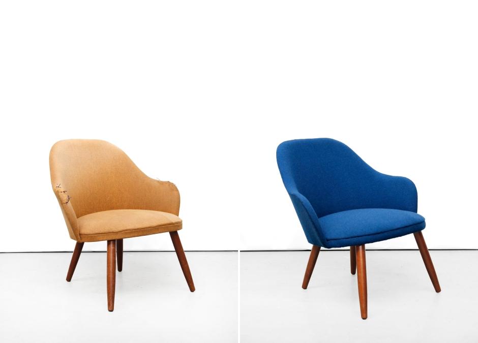 Gerestaureerd blauw deens design fauteuiltje