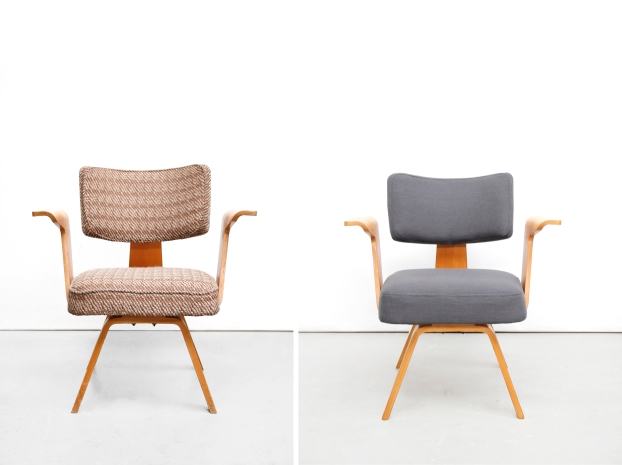Vintage cor alons fauteuil opknapper restauratie before and after