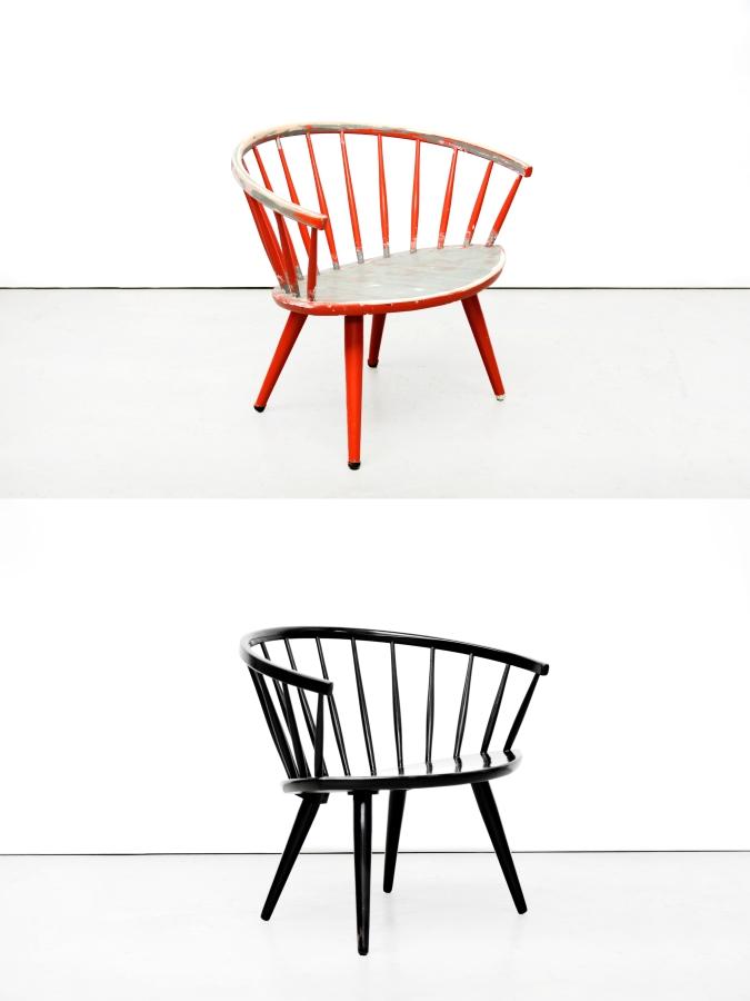 Restauratie Yngve Ekstrom Arka stoel before and after
