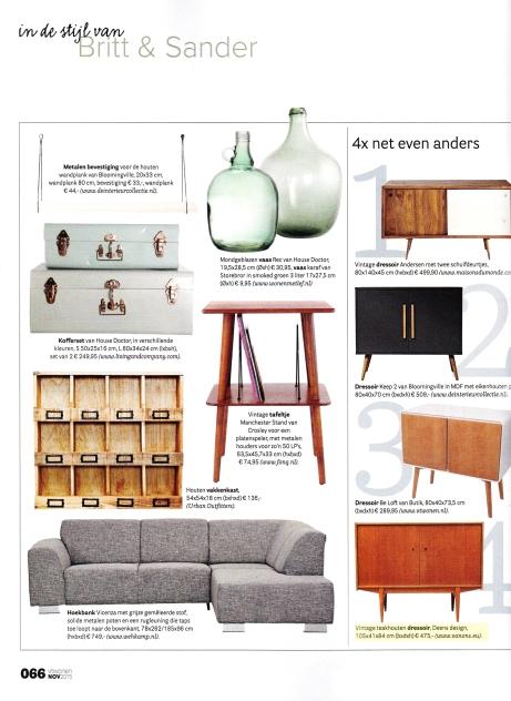 VTwonen november 2015 met vintage design dressoir van VAN ONS Amsterdam