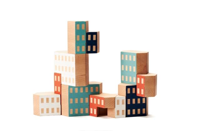 Houten Blockitecture bouw blokken van James Paulius voor AREAWARE VAN ONS design for children AMSTERDAM
