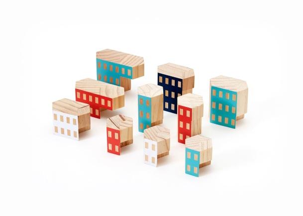 Houten Blockitecture bouw blokken van James Paulius voor AREAWARE VAN ONS design for children VAN ONS Amsterdam