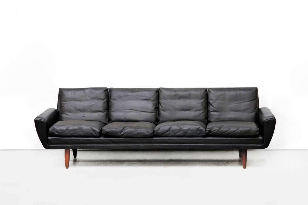 Zwart Leren Bankstel Design.Zwart Leren Vintage Georg Thams Vierzits Design Bank Van Ons