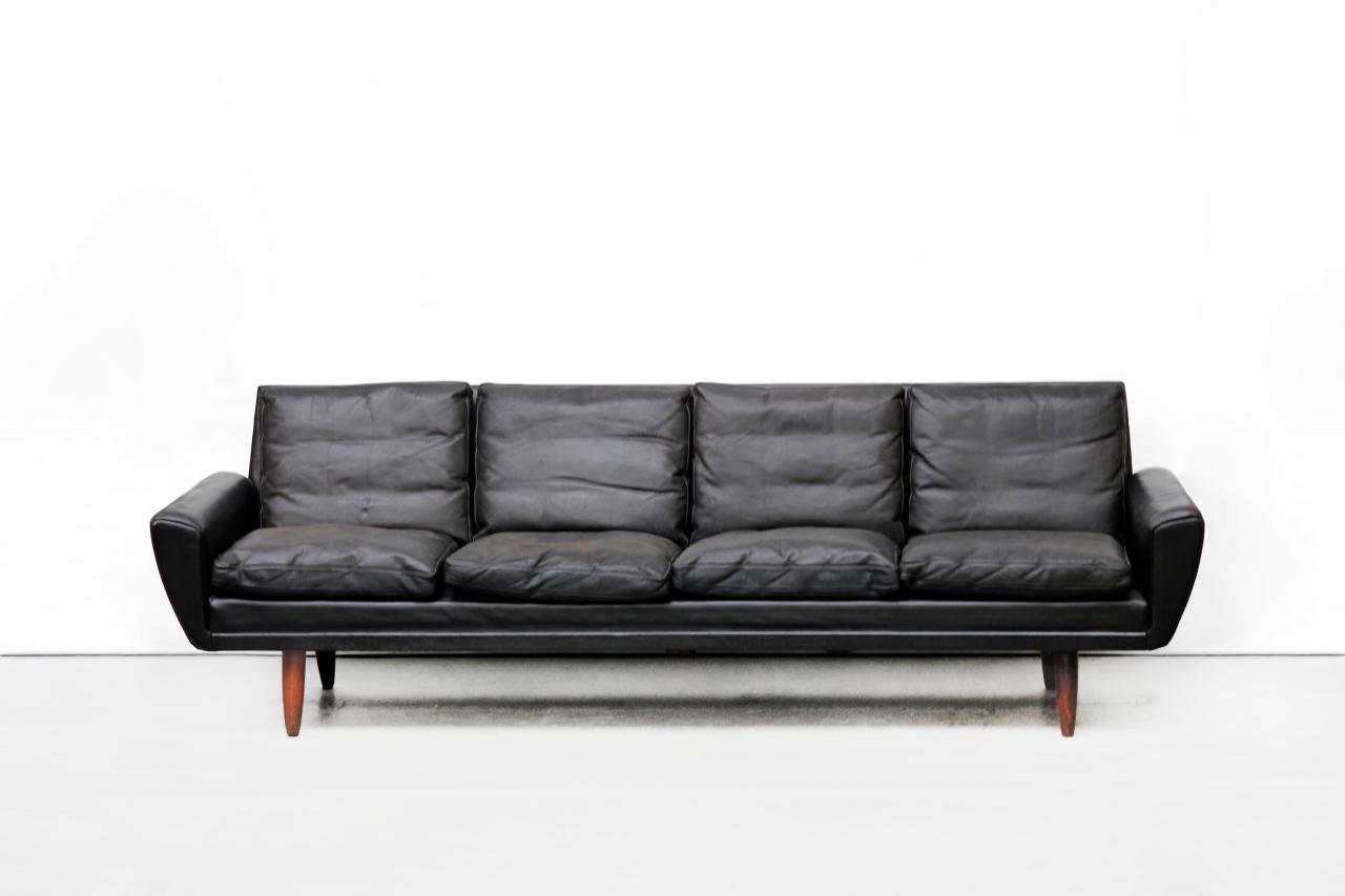Zwart Leren Design Hoekbank.Zwart Leren Vintage Georg Thams Vierzits Design Bank Van Ons