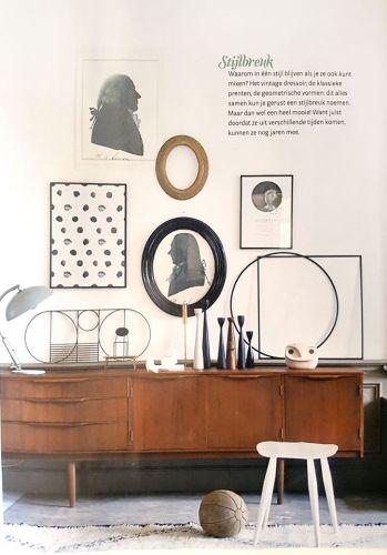 Mix interieur stijlen, Mid century modern kandelaren, lamp en dressoir te koop bij VAN ONS