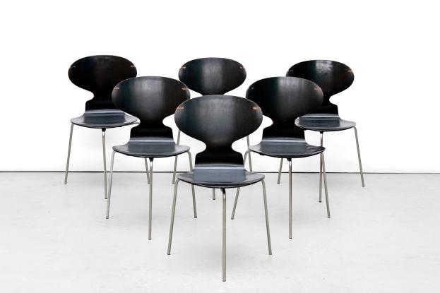 Set van 6 Arne Jacobsen mier stoelen Fritz Hansen Ant chairs VAN ONS mid century modern design