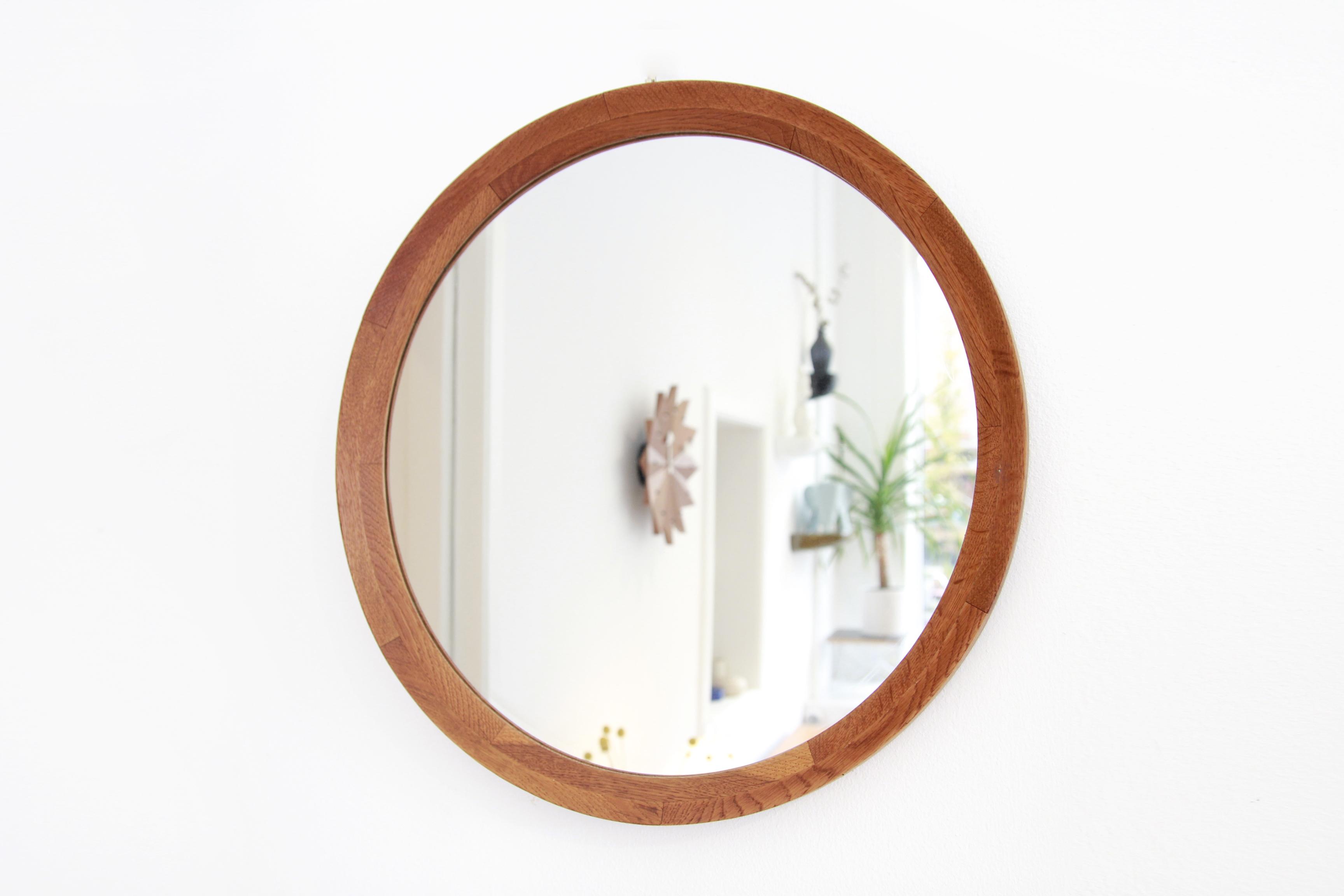 Ronde Houten Spiegel : Ronde massief eiken houten deens design spiegel van ons
