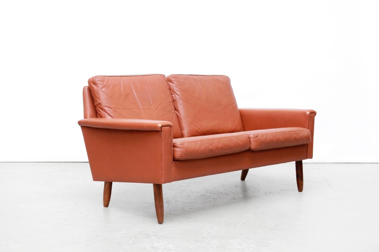Bruin Leren Design Bank.Bruin Leren Vintage Deens Design Tweezitter Bank Van Ons