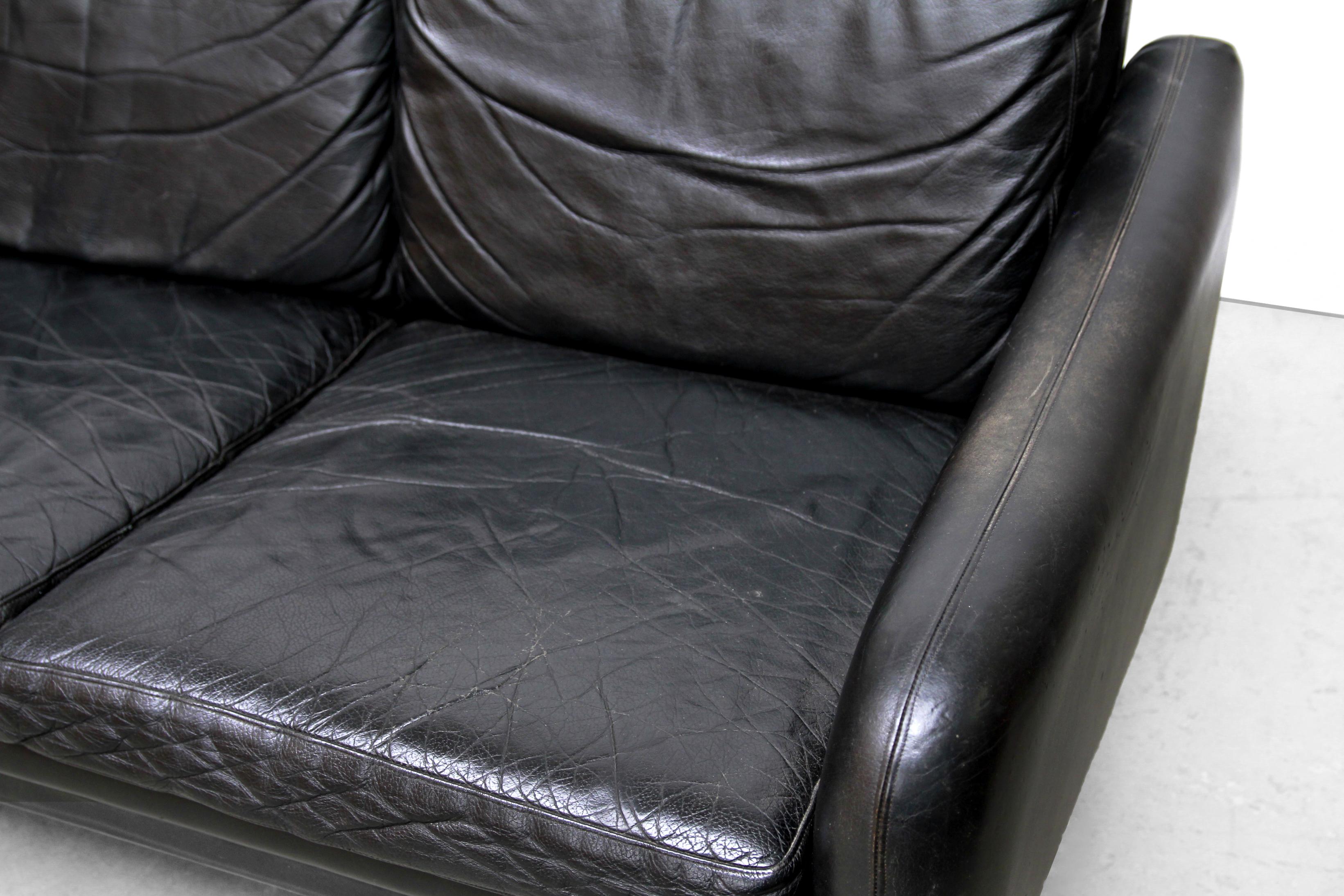 Zwart Leren Bankstel Design.Zwart Leren Vintage Deens Design Bank Black Leather Design Sofa