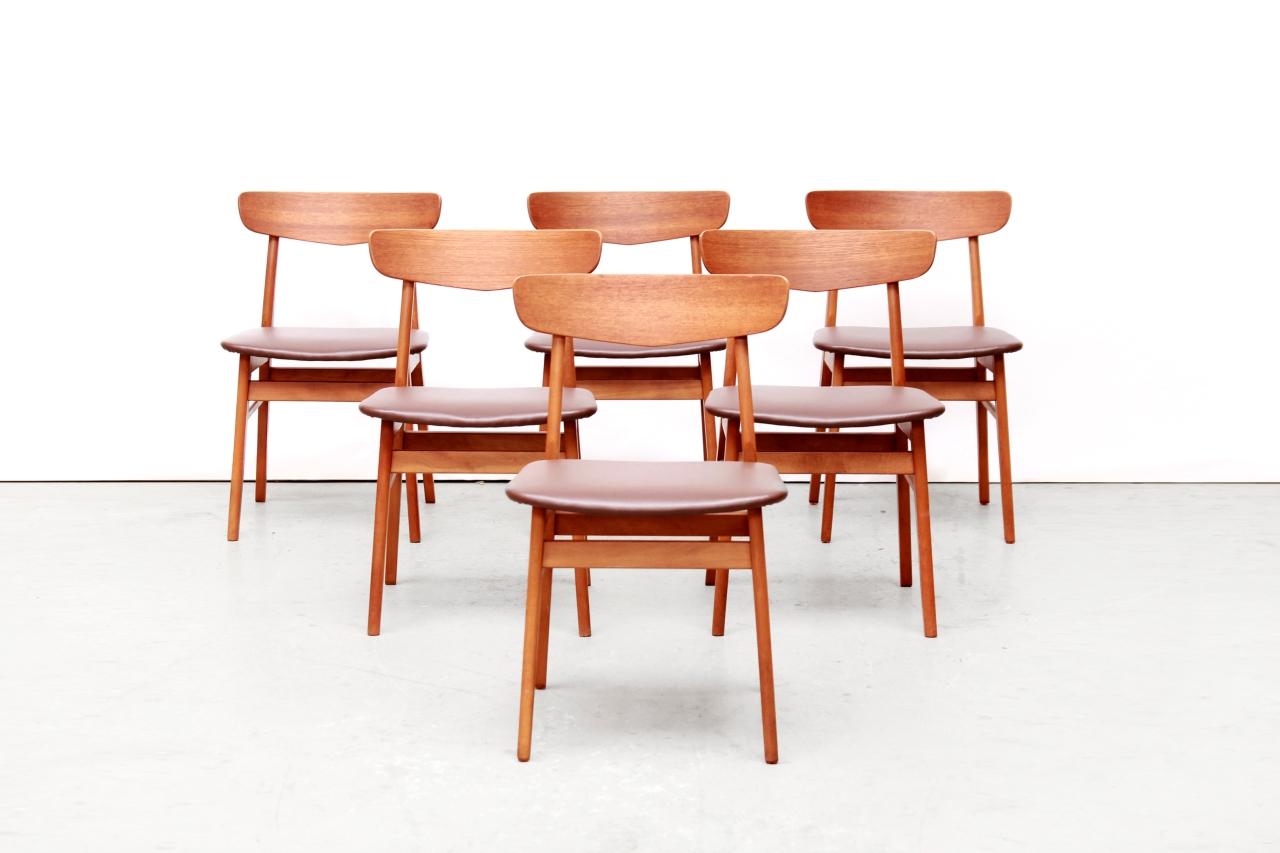 Set van 6 Deens design eetkamer stoelen van Farstrup | van OnS