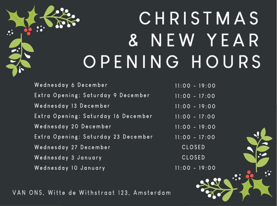 Gewijzigde openingstijden VAN ONS vintage meubels en lampen Witte de Withstraat 123 Amsterdam