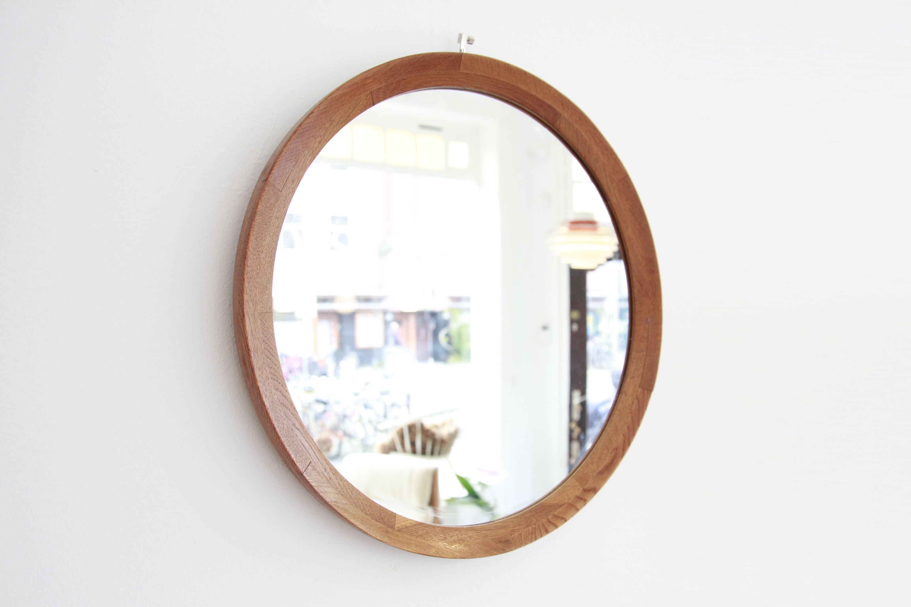 Ronde Houten Spiegel : Ronde massief eiken houten deens design spiegel van ons vintage