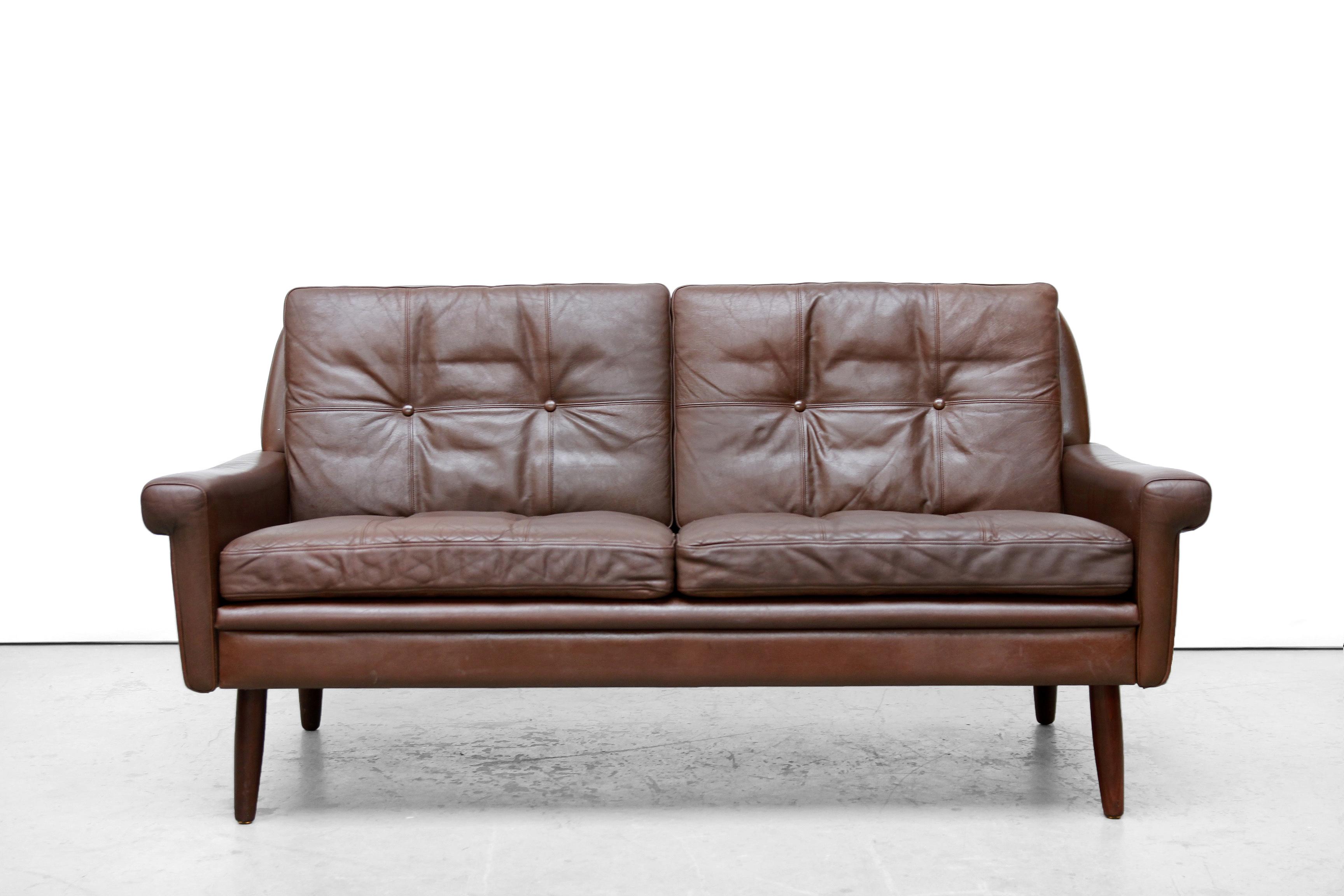 Leren Bank Tweezits.Bruin Leren Deens Design Tweezits Bank Van Svend Skipper Sofa