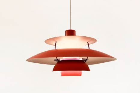 Vintage rode PH5 lamp van Poul Henningen voor Louis Poulsen
