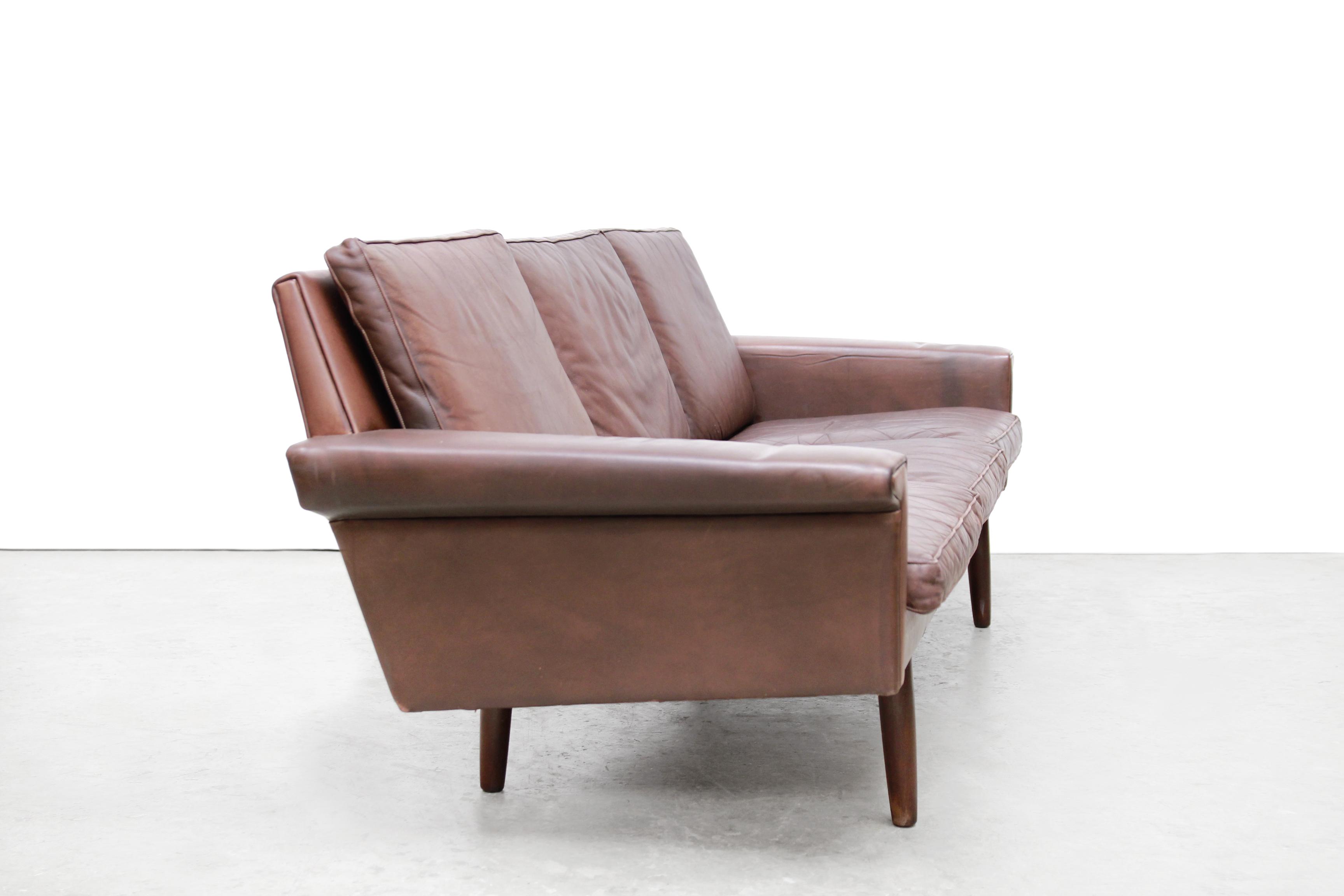 Bruin leren deens design bank leather danish design sofa geleefd
