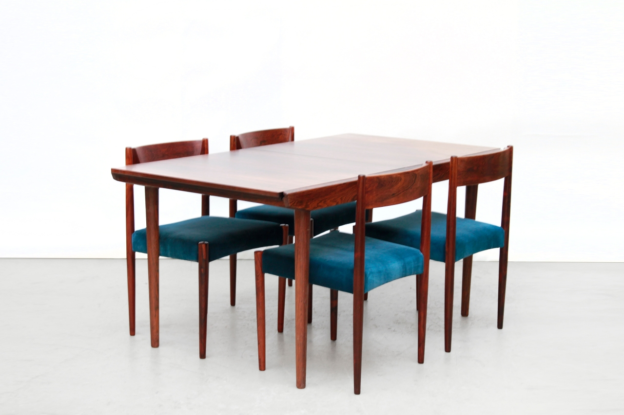 Palissander houten eetkamer set met 6 stoelen en verlengbare ...