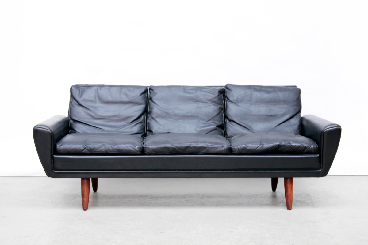 Leren Zwart Bankstel.Zwart Leren Georg Thams Drie Zits Bank Black Leather Danish Design