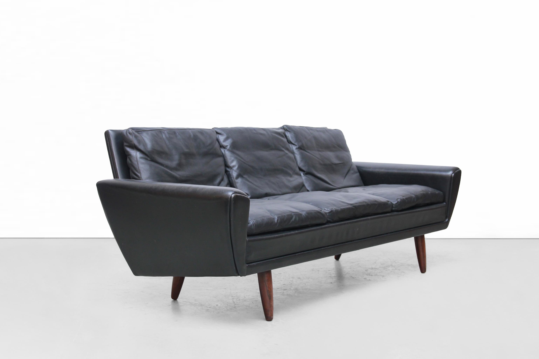 Zwart Leren Bankstel Design.Zwart Leren Georg Thams Drie Zits Bank Black Leather Danish Design