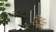 Stoff Nagel kandelaars candle holders Model S22 in brass messing