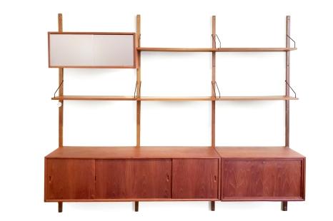 Groot Teak Poul Cadovius wandysteem van Royal System met dressoir with sideboard VAN ONS vintage design furniture Amsterdam