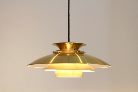 Vintage Messing kleurige Deens design hanglamp VAN ONS design Amsterdam
