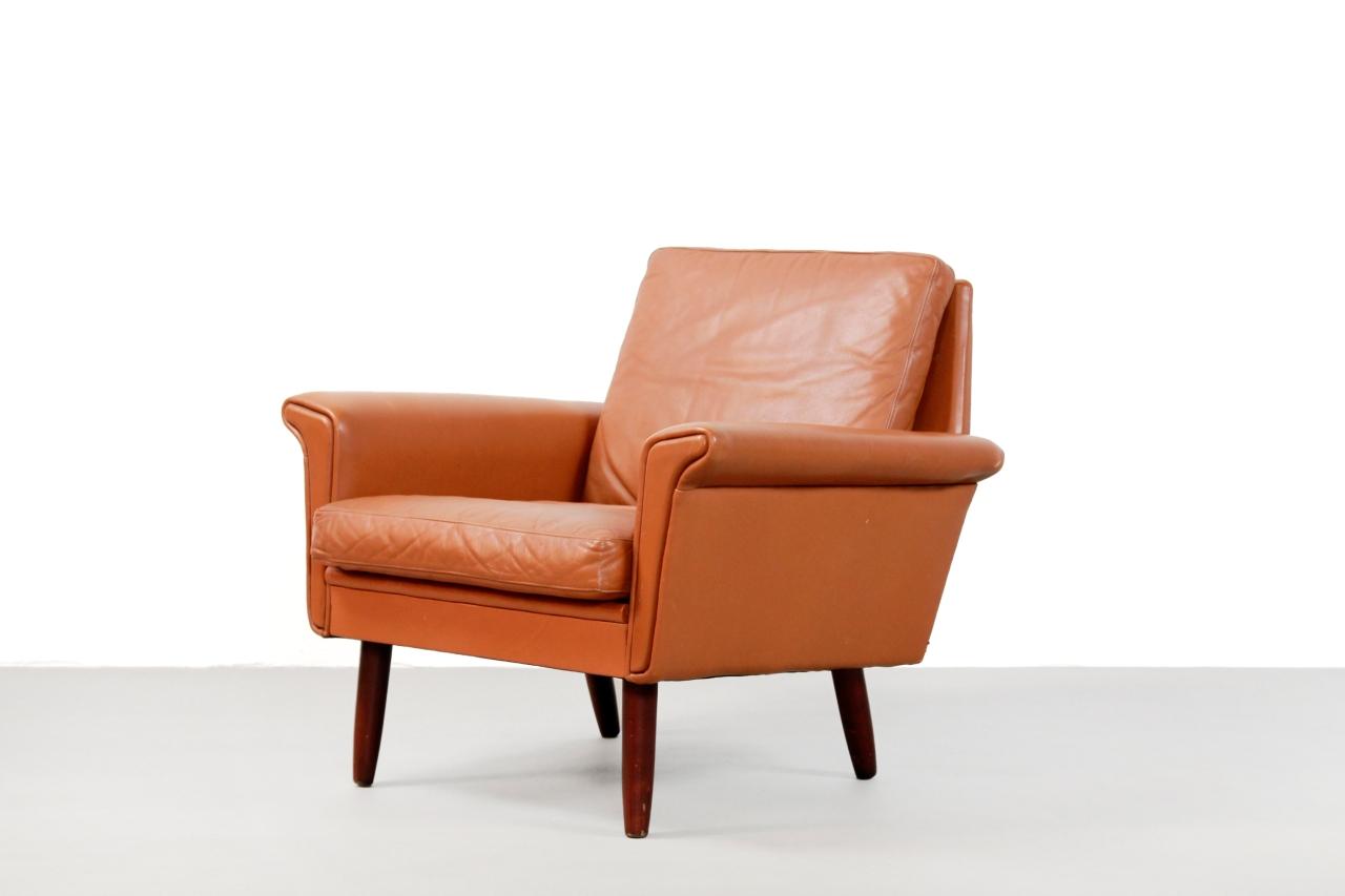 Bruin Leren Vintage Fauteuil.Bruin Leren Vintage Deens Design Fauteuil Van Ons