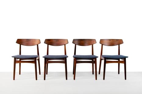 Set van 4 Palissander houten Deens design stoelen rosewood danish design dining chairs