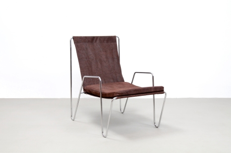 Bruin leren Verner Panton Bachelor chair leather arm chair VAN ONS vintage design furniture Amsterdam