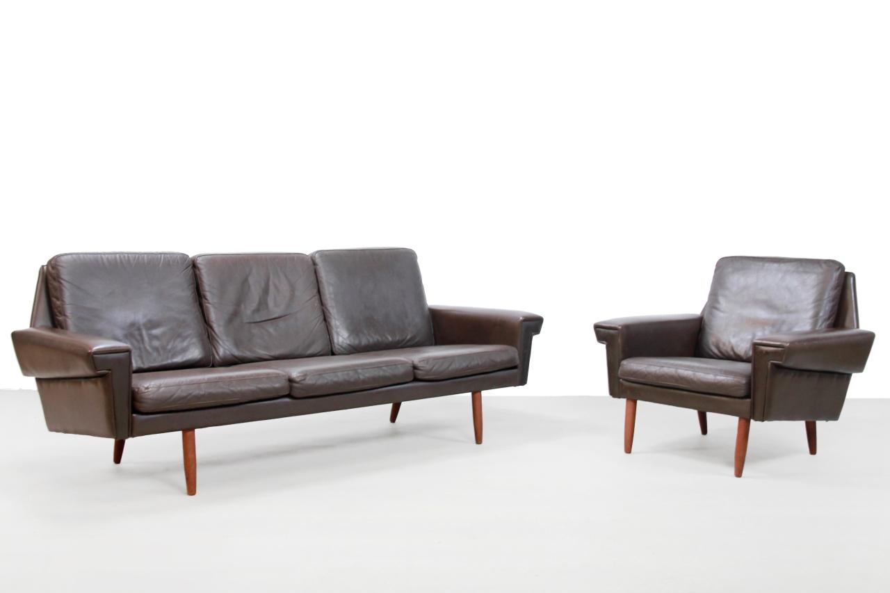 Bruin Leren Design Bank.Bruin Leren Deens Design Bank En Fauteuil Van Vejen