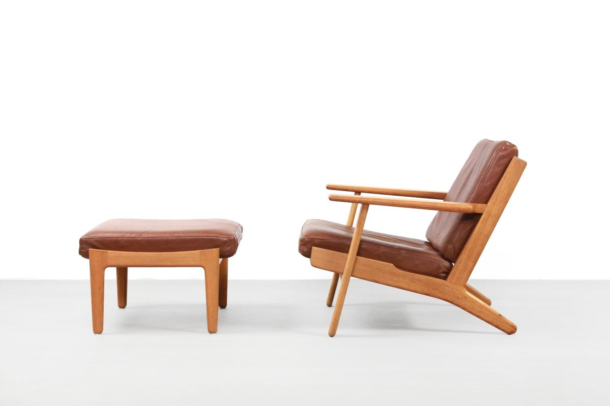 Leren Lounge Fauteuil.Vintage Leren Hans Wegner Ge290 Fauteuil Voor Getama Lounge Chair