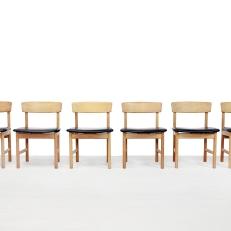 Set van 6 Borge Mogensen leer en eiken model 3236 stoelen voor Fredericia Dining chairs VAN ONS design interior Amsterdam