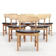 Set Borge Mogensen leer en eiken model 3236 stoelen chairs