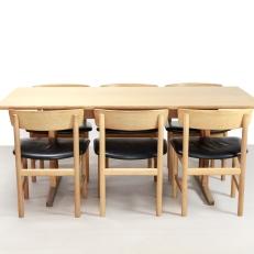 Set Borge Mogensen leer en eiken stoelen chairs and c18 table complete set VAN ONS design interieur Amsterdam