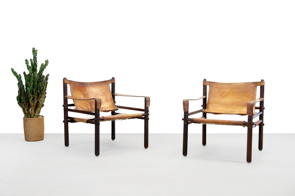Set of two vintage Arne Norell Sirocco armchairs in Wenge and Leather Scandinavian Design by VAN ONS Amsterdam Landsmeer
